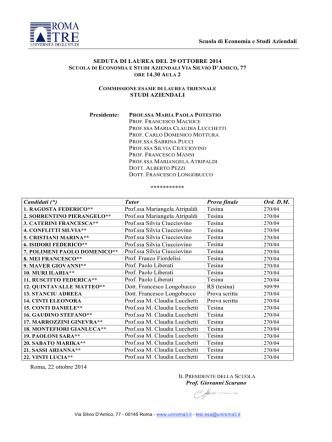 Commissione di LTSA del 29.10.14