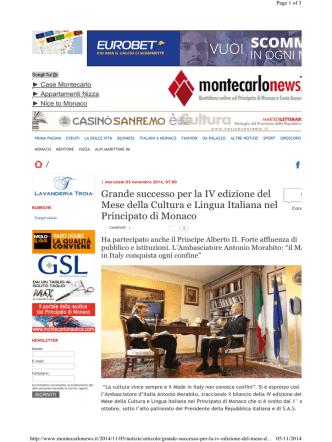 05.11.2014 Montecarlo News Successo del mese della cultura Italiana