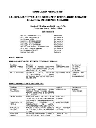 commissione laurea l lm scienze e tecnologie agrarie 25 febbraio