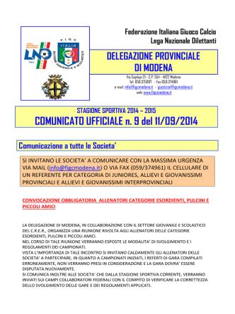 COMUNICATO UFFICIALE n. 9 del 11/09/2014