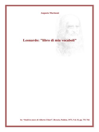"""Augusto Marinoni — Leonardo: """"libro di mia vocaboli"""""""