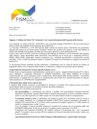 C45-14 Utilizzo mod. F24 telematico