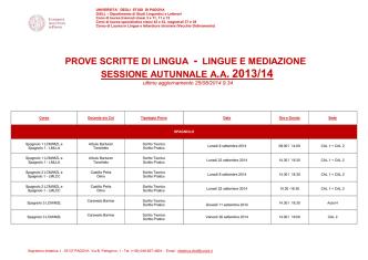 Calendario prove Download - Dipartimento di Studi Linguistici e