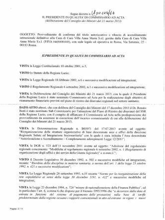 Decreto n. U00104 del 27 marzo 2014