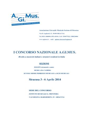Bando Concorso - A.Gi.Mus: associazione giovanile musicale