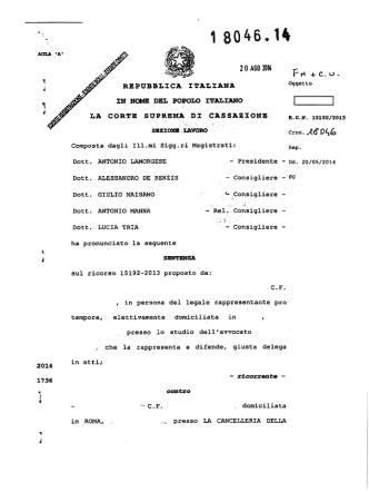Corte di Cassazione Sezione Lavoro - Sentenza n. 18046-2014