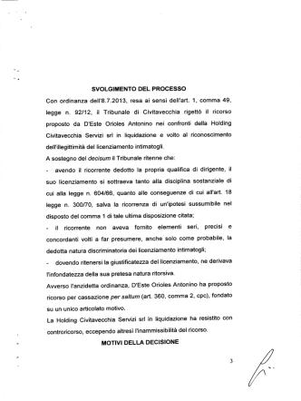 Corte di Cassazione, Sezione Lavoro, sentenza 9