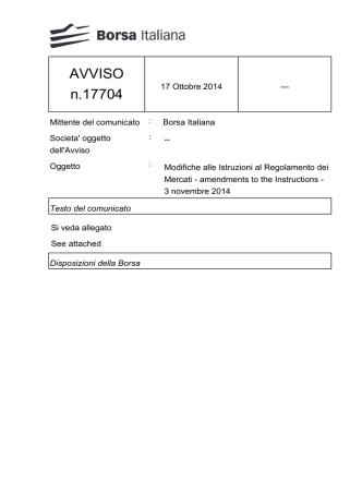 AVVISO n.17704 - Borsa Italiana