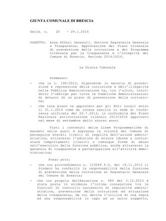 delibera approvazione piano anticorruzione e programma trasparenza