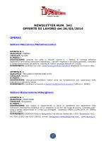 NEWSLETTER NUM. 342 OFFERTE DI LAVORO