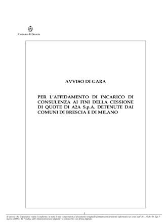 Bando affidamento incarico consulenza per cessione quote a2a