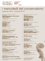 i mercoledì del conservatorio - Conservatorio di musica Giuseppe