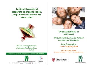 Brochure Corso Volontari - Aisla Trentino Alto Adige