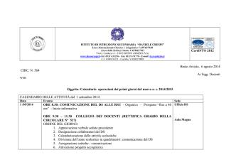 circ. 564 calendario primi giorni 2014-15