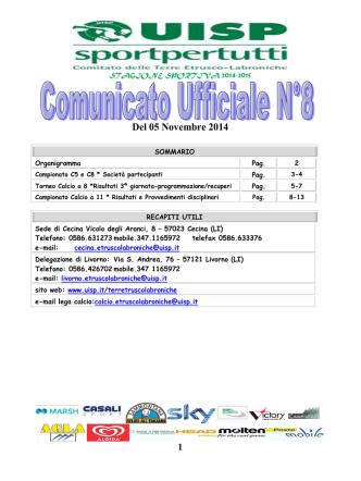 Comunicato Ufficiale n.8 del 05 Novembre