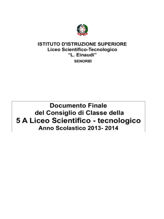 5ªA Liceo Scientifico Tecnologico Progetto Brocca