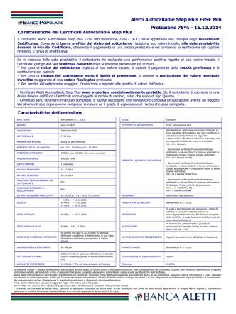 Aletti Autocallable Step Plus FTSE Mib Protezione