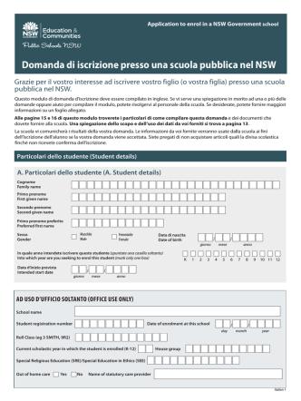 Application to enrol in a NSW Government school Domanda di