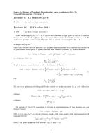 Lezione 9. 13 Ottobre 2014 1 ora Lezione 10. 15 Ottobre 2014 2 ora