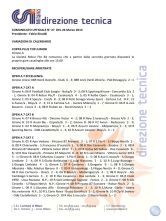 COMUNICATO CALCIO A 7