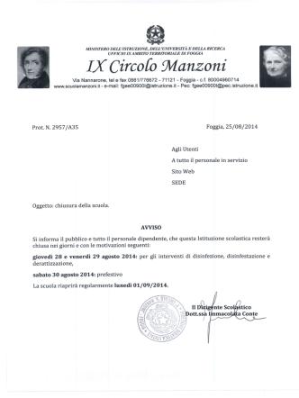 Chiusura scuola - IX Circolo Manzoni