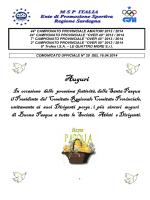Comunicato Ufficiale n° 29 del 16.04.2014