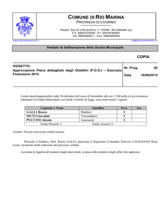 (P.D.O.) – Esercizio Finanziario 2014
