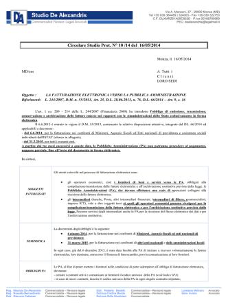 Circolare Studio Prot. N° 10 /14 del 16/05/2014