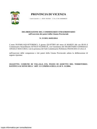 Delibera provinciale approvazione PAT