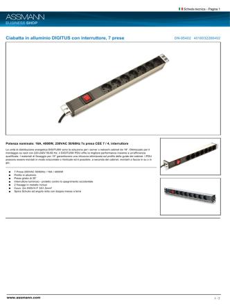Ciabatta in alluminio DIGITUS con interruttore, 7 prese