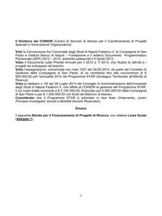 Bando STAR Linea 1 - Coinor - Università degli Studi di Napoli