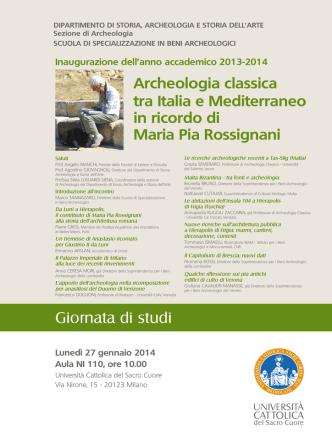 Archeologia classica tra Italia e Mediterraneo in ricordo di Maria Pia