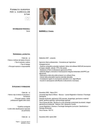 Curriculum Vitae - Comune di Calcio