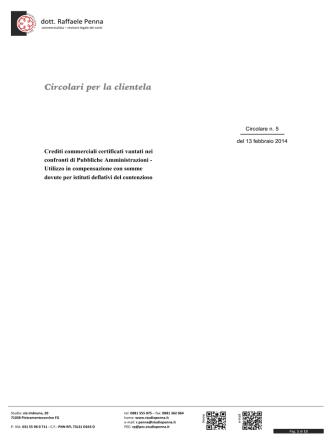 05 - informativa - Crediti commerciali certificati vantati nei confronti