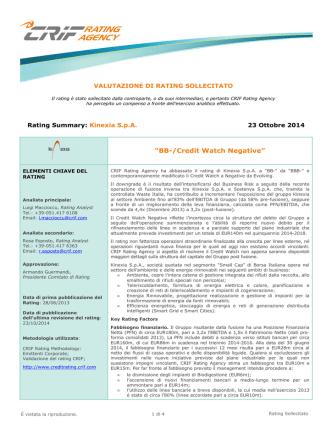 Aggiornamento - Credit Watch 23/10/2014