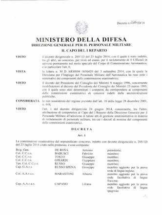 Decreto n. 245/1D del 05.09.2014