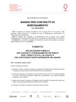 Bando docenze a contratto 2014-2015
