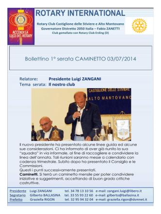 Bollettino n° 1 - Sito Ufficiale del Rotary di Castiglione delle Stiviere