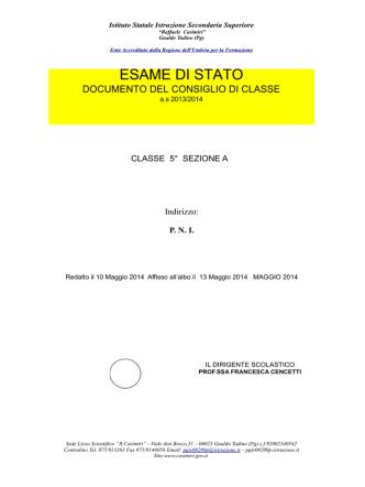 CLASSE 5° SEZIONE A Indirizzo: P. N. I.