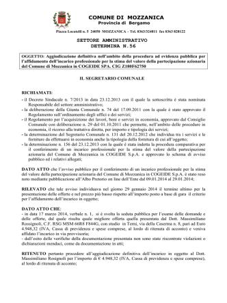 56 - Aggiudicazione stima valore azioni COGEIDE