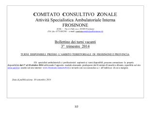Bollettino Turni vacanti 3° trim. 2014