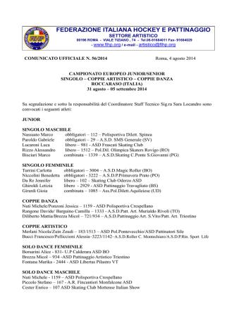 31/8 al 5/9 Roccaraso - Federazione Italiana Hockey e Pattinaggio