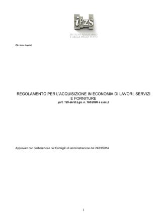 Acquisti in economia - Istituto Poligrafico e Zecca dello Stato