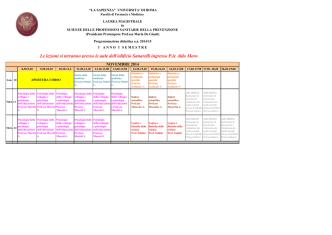 Calendario lezioni 2014-2015 I anno I semestre