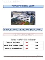 """PROCEDURA DI PRIMO SOCCORSO - Liceo scientifico """"G.B.Quadri"""""""