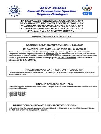 Comunicato Ufficiale n° 32 del 14.05.2014