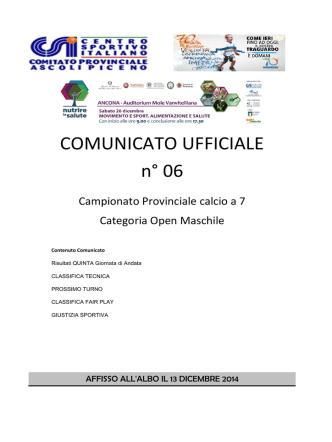 Comunicato Ufficiale n° 06 Campionato Nazionale calcio a 7 2014