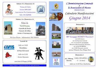 Calendario Manifestazioni Giugno 2014