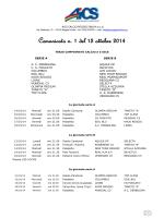 Comunicato n. 1 del 13 ottobre 2014