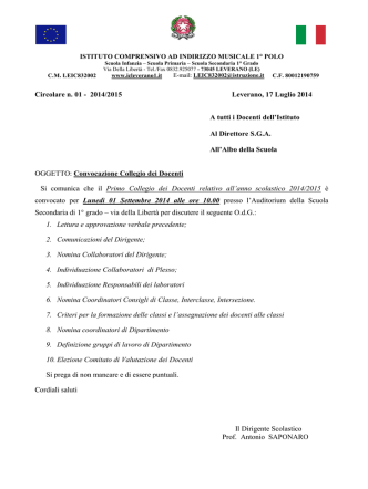 Convocazione Collegio Docenti 01/09/2014